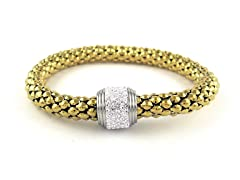 18kt Gold Plated White Crystal Stretch Bracelet