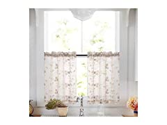 Taupe Tier Curtains Floral Panel Pairs