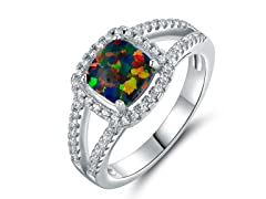 Cushion Cut Opal Halo Ring