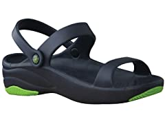 Women's Premium 3-Strap Sandal, Navy / Lime Green