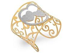 18kt Plated Adjustable Heart Bangle
