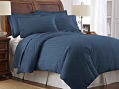 500TC 100% Pima Cotton Pillowcases-Standard-Navy
