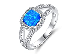 Cushion Cut Opal and Crystal Ring