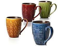 Four 14 oz Mugs Raised Pattern