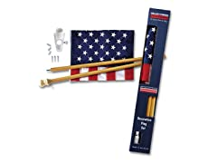Wood 5 ft Pole 2-pc Nylon US Flag Kit