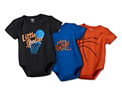 FILA Little Baller Bodysuit 3-Pk (0-6M)