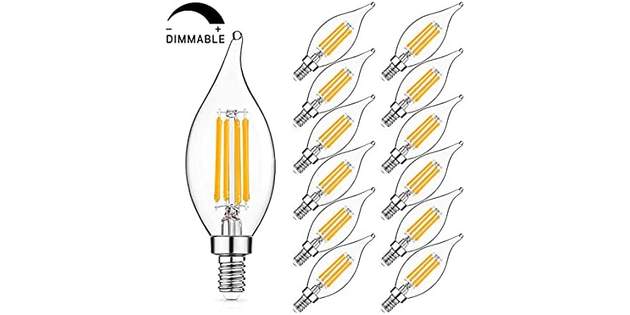 SHINE HAI E12 LED Candelabra Bulb 60W Equivalent Dimmable LED Chandelier Light Bulbs, 12-pack, Your Choice: Warm White or Cool White | WOOT