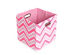 Rose Zig Zag Canvas Folding Storage Bin