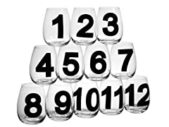 Numbered 18oz Stemless Wine Glasses - S/12