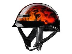 GLX Skull Flame Half Helmet