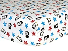 Penguin Print Flannel Crib Sheet