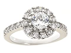 18kt WG Plated Sim Diamond Halo Engagement Ring