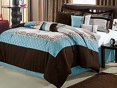 Mustang 8Pc Comforter Set - Brown-2 Sizes