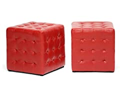 Siskal Cube Ottoman Set of 2 - Red