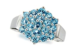 SS Swiss Blue Topaz Cluster Ring