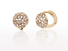 Rose Round Swarovski Elements Huggie Earrings