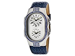Women's Dual Time Silver Dial / Blue Leather Watch