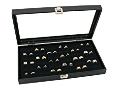 Glass Top 72 Display Ring Case