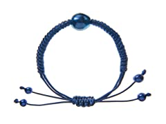 Blue Freshwater Pearl, Knotted Cord Bracelet