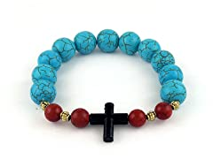 Genuine Turquoise Cross Bracelet