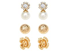 Gold, Pearl & Clear Crystal Flower & Ball Set of 3 Stud Earrings