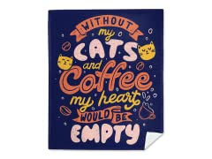"""Cats and Coffee"" Mink Fleece Blanket"