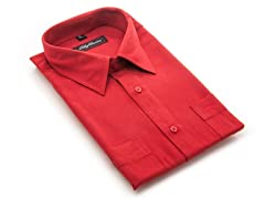 Oleg Cassini Men's Dress Shirt, Red XXXL