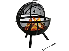 Sunnydaze 30-Inch Flaming Ball Moons and Stars Fire Pit with Protective Cover