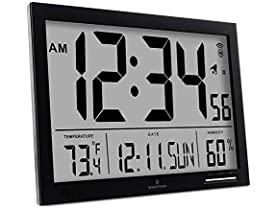 Marathon Slim-Jumbo Atomic Digital Wall Clock