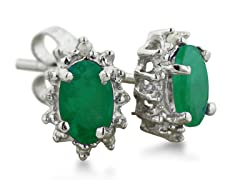 1ct Emerald And Diamond Earrings In Sterling Silver