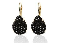 Onyx Diamond Crushed Teardrop Huggie Earrings