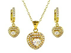18kt Plated Heart Cut Set