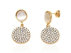 Swarovski Crystal Double Round Drop Earrings