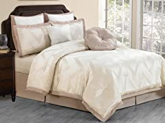 Behrakis 8Pc Comforter Set-Champagne- Queen