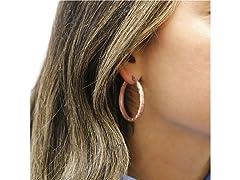 18K Rose Gold 35MM Satin Hoop Earrings