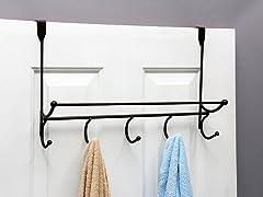 5 Hook Over the Door Hook w/Towel Bar Bronze