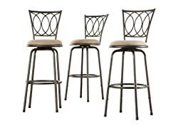 Homelegance Scroll Back Adj Stool 3pk