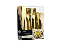Plastic Gold Disposable Flatware, 96 Ct