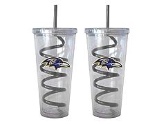 NFL Swirl Straw Tumbler 2pk (12 Teams)