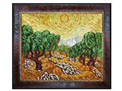 Olive Trees with Yellow Sun and Sky