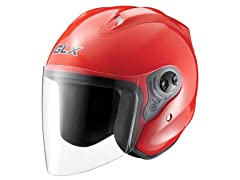 Open Face Motocycle Helmet - Red