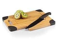 Picnic Time Culina Cutting Board & Knife Set - Black