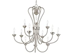 12-Light Chandelier, Brushed Nickel