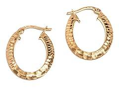 14K Gold DC Oval Hoop Earring