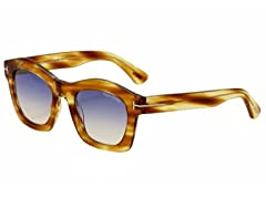 Tom Ford Sunglasses With Striped Yellow Frame and Blue Lenses