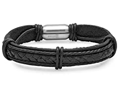 Men's Black Leather Bracelet With Stainless Steel Magnetic Clasp
