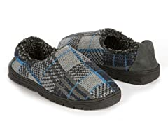 Tom Plaid Full Foot Slipper, Blue/Grey