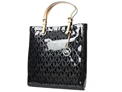 Jet Set North South Tote, Black Patent