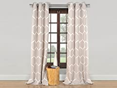 "84"" Quey Wrinkle Wave Panels-S/2-Taupe"