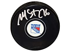 Martin St. Louis Rangers Signed Puck